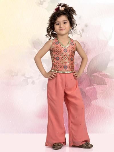 Peach printed punjabi palazzo set for girls in raw silk
