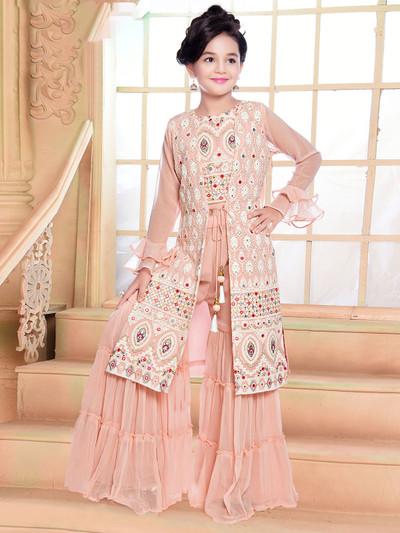 Peach punjabi sharara suit in georgette for girls