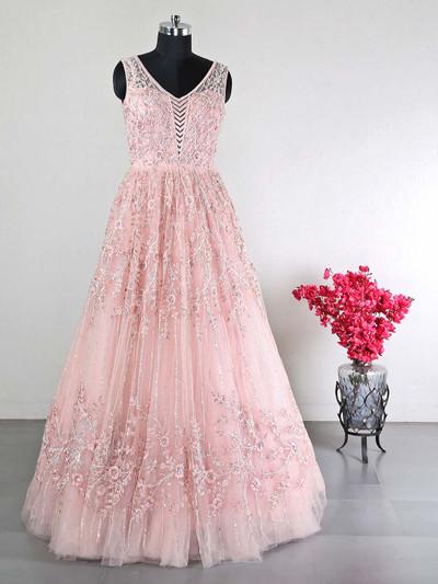 Peach reception wear net gown for women