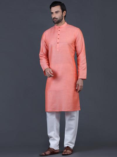 Peach solid cotton kurta suit