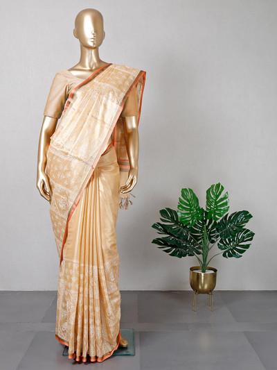 Peach thread weaving cotton saree for women