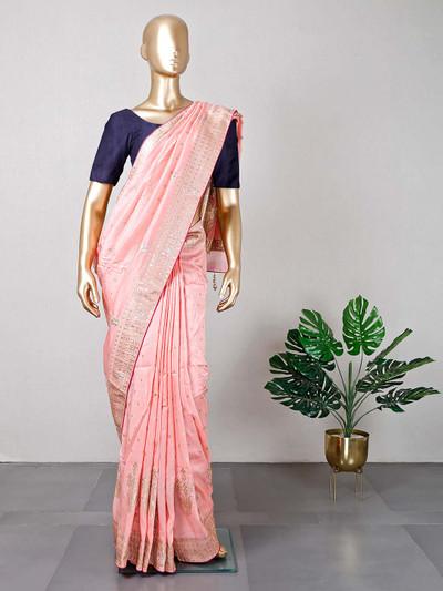peach wedding wear cotton silk sari