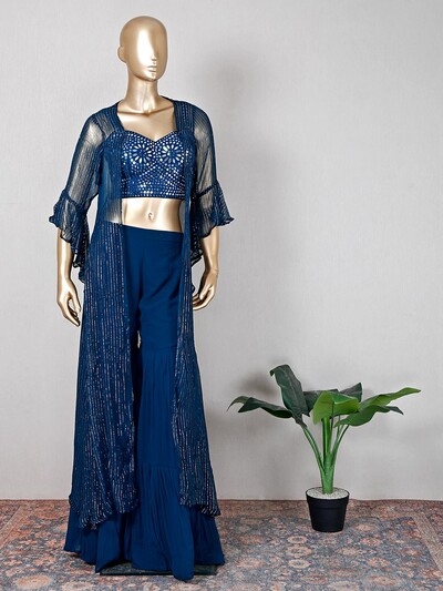 Peacock blue georgette sharara suit for wedding wear