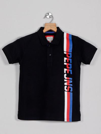 Pepe Jeans black printed cotton polo t-shirt
