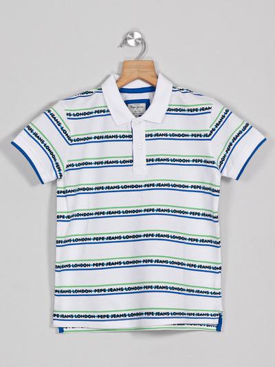 Pepe Jeans cotton white stripe t-shirt