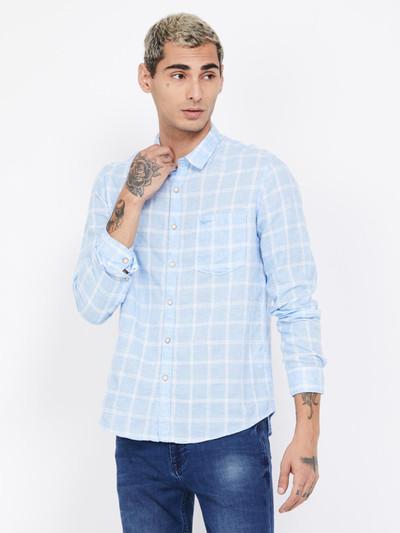 Pepe Jeans light blue checks linen shirt