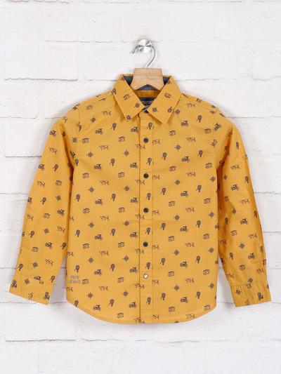 Pepe jeans presented mustard yellow printed shirt