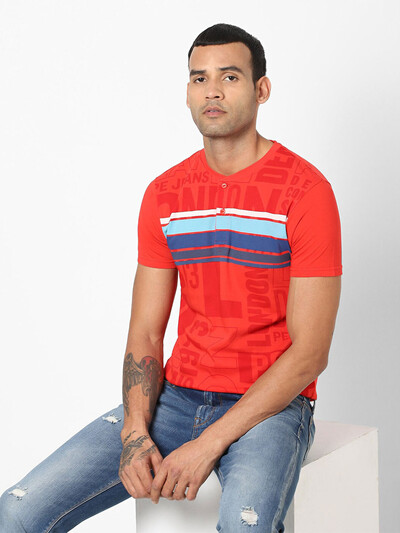 Pepe Jeans printed red polo t-shirt