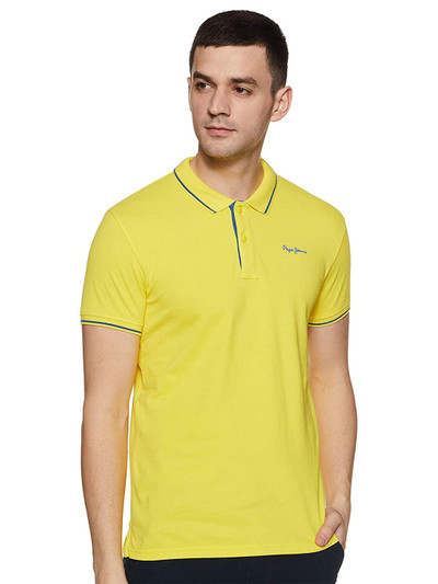 Pepe Jeans yellow solid mens polo t-shirt