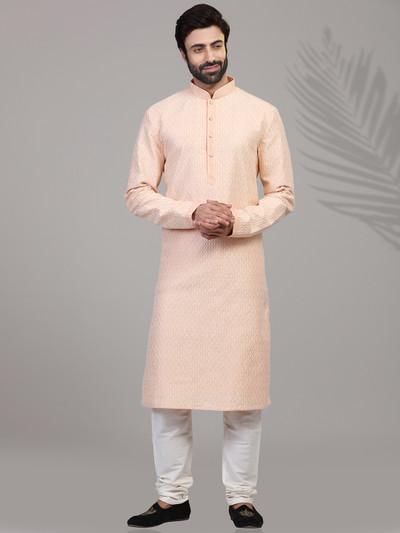 Peppy peach cotton chikan thread kurta suit