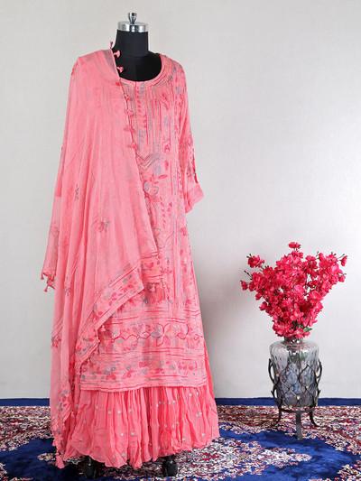 Pink anarkali georgette suit for wedding