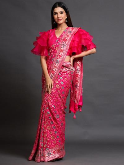 Pink banarasi silk party wear saree with saree ready made blouse