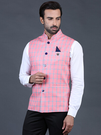 Pink checks style terry rayon waistcoat
