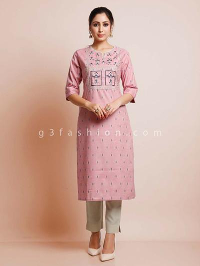 Pink color cotton festive wear kurti