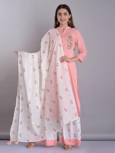Pink color cotton festive wear sharara suit