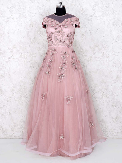 Pink color net party wear floor length gown