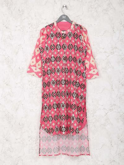 Pink color printed cotton kurti