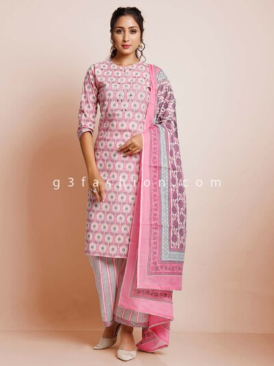 Pink cotton casual wear palazzo suit