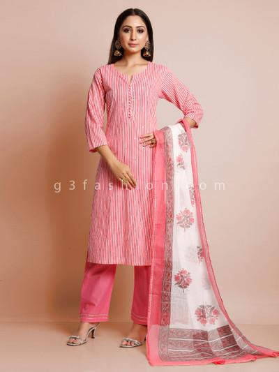 Pink cotton festive wear pant suit