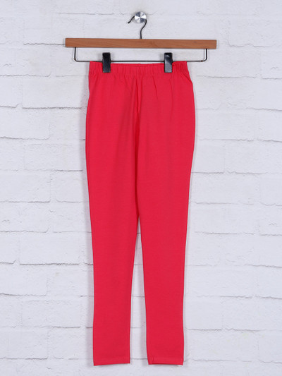 Pink cotton jeggings casual wear