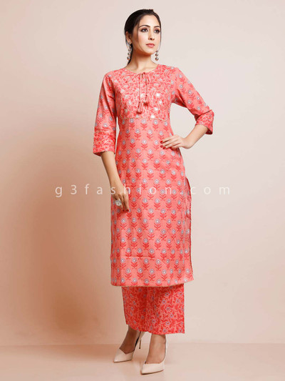 Pink cotton palazzo suit for festive session