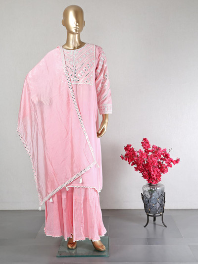 Pink cotton party wear salwar kameez