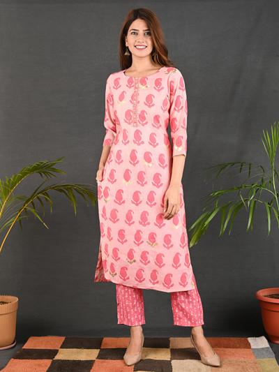 Pink cotton printed causal wear pant suit