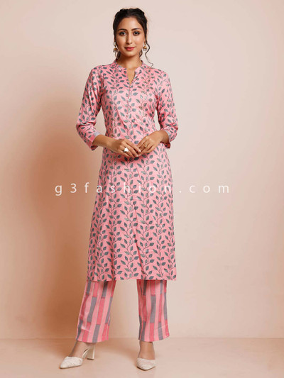 Pink cotton printed pant suit