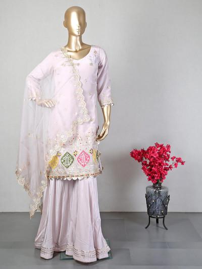 Pink cotton silk designer sharara salwar suit