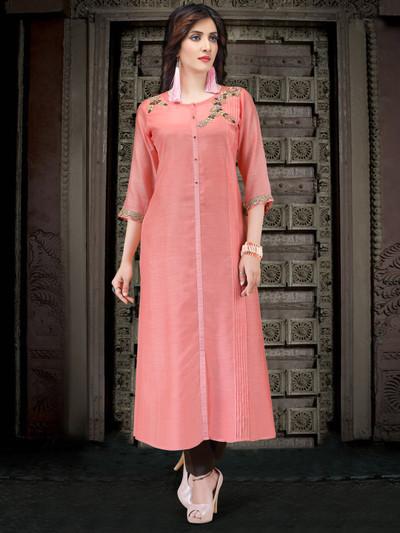 Pink cotton silk embroidered kurti
