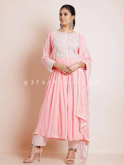 Pink cotton silk punjabi suit for festive