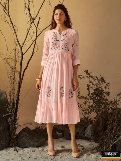 Pink cotton thread work kurti in cotton