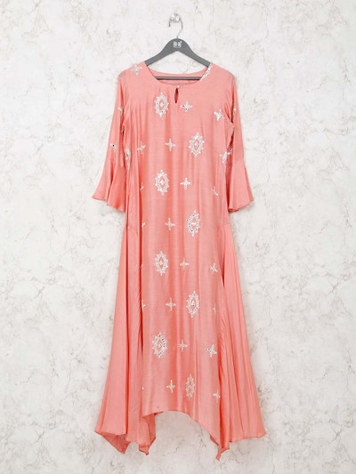 Pink cotton tunic for festive wear