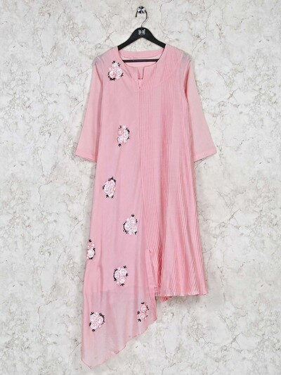 Pink cottonfestive wear kurti for casual look