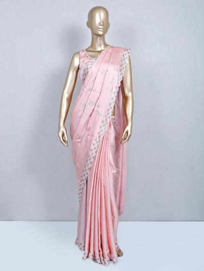 Pink designer satin saree with readymade blouse