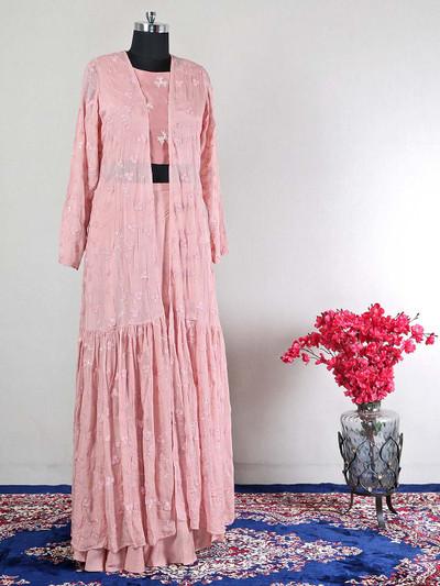 Pink designer wedding lehenga style salwar suit