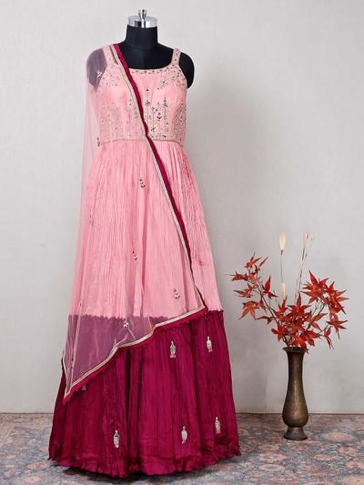 Pink georgette designer salwar kameez for women