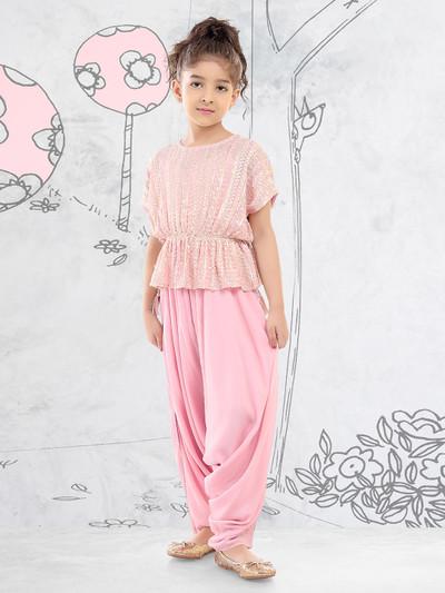 Pink georgette festive wear peplum dhoti suit