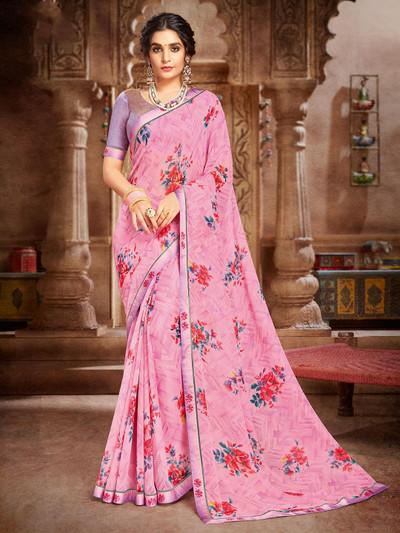 Pink georgette printed design saree