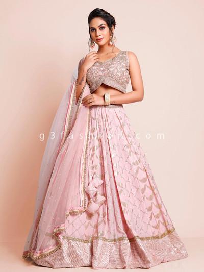 Pink georgette wedding wear wear lehenga choli