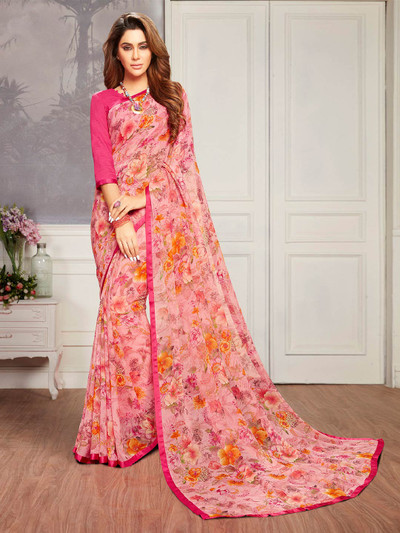 Pink gerogette saree in printed for women