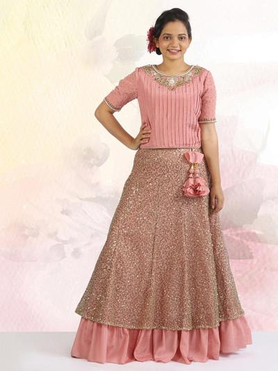 Pink lehenga choli in georgette for girls