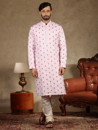Pink linen festive wear kurta suit