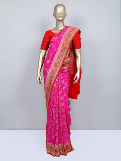 Pink muga silk wedding wear saree
