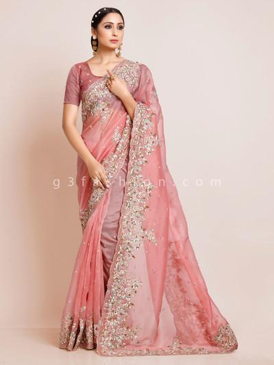 Pink organza tissue silk saree with unstitched blouse piece