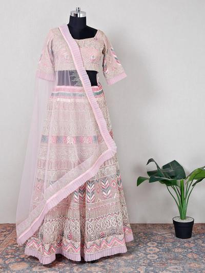 Pink party wear lehenga for women in net