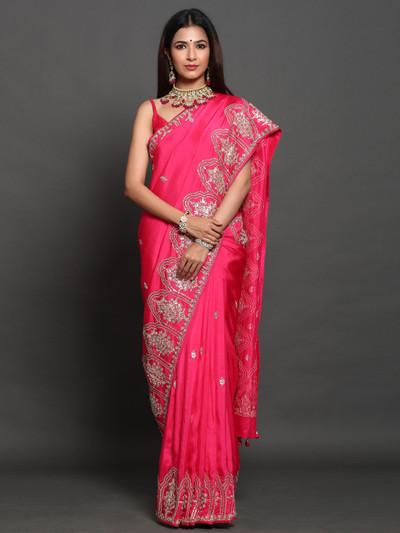 Pink party wear saree in silk