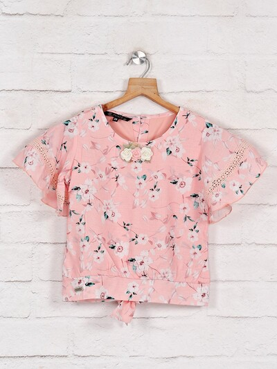 Pink printed cotton top for casual outings
