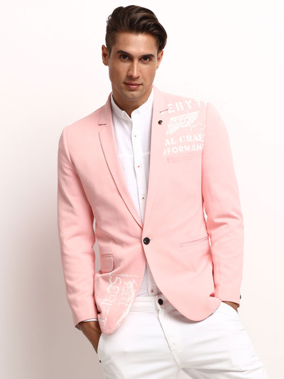 Pink printed party wear terry rayon blazer