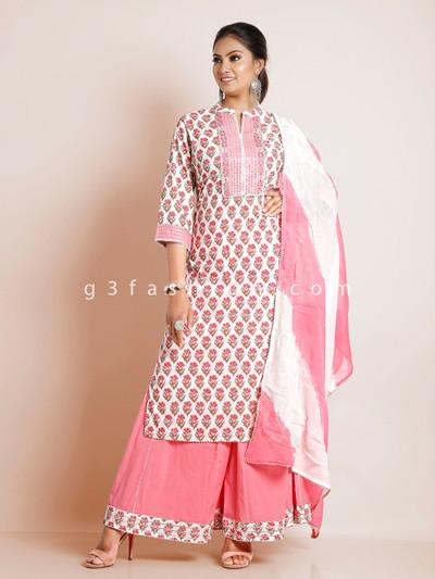 Pink printed punjabi cotton festive ocasions palazzo suit